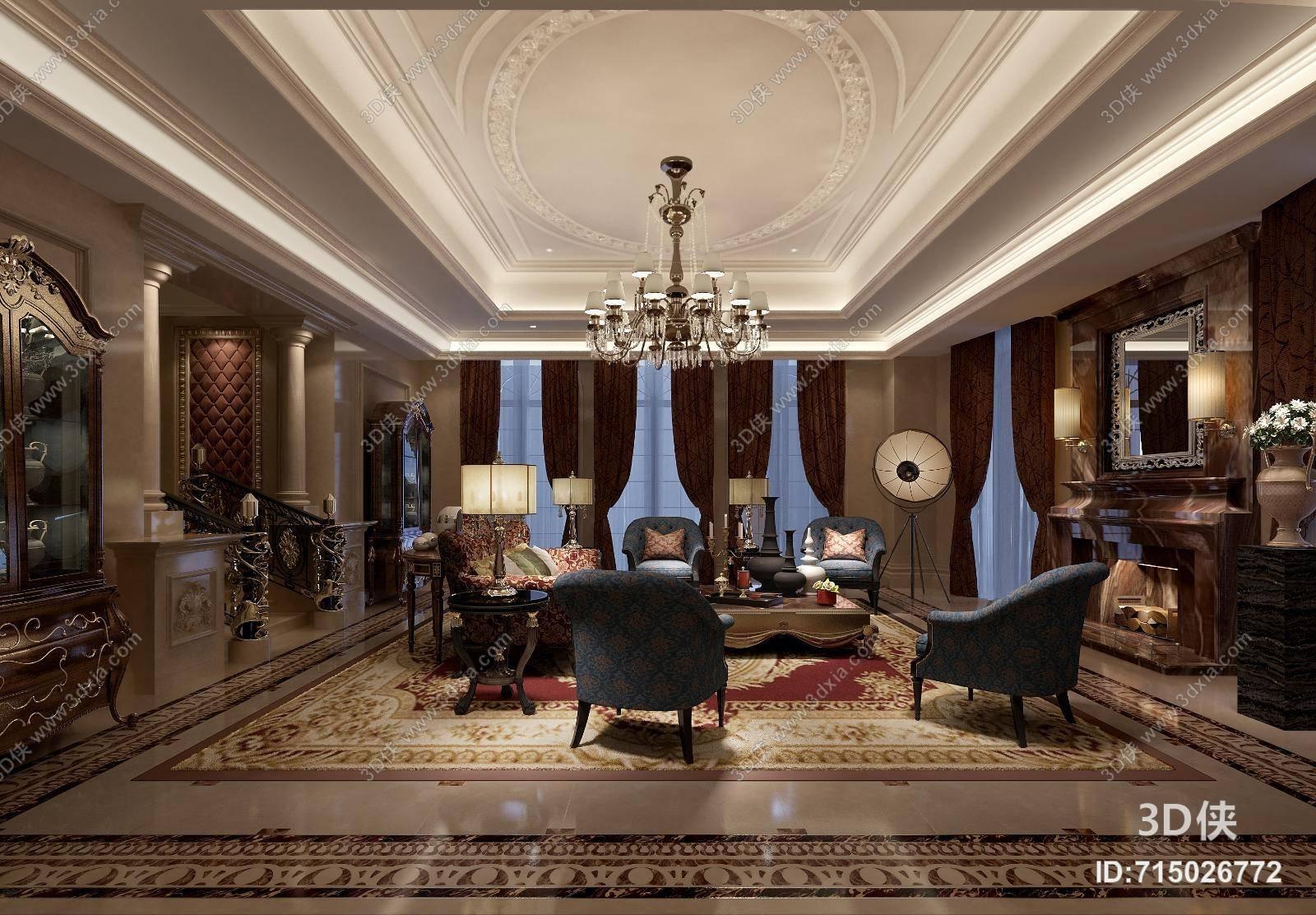 经典欧式家居客厅3d模型 _3d侠模型网