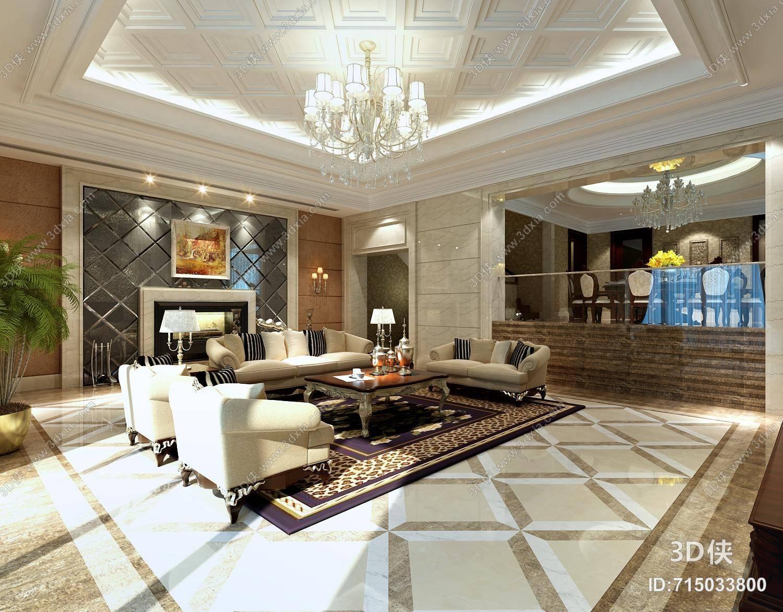 欧式简约别墅客厅 欧式简约白色水晶吊灯 欧式简约别墅客厅 欧式简约