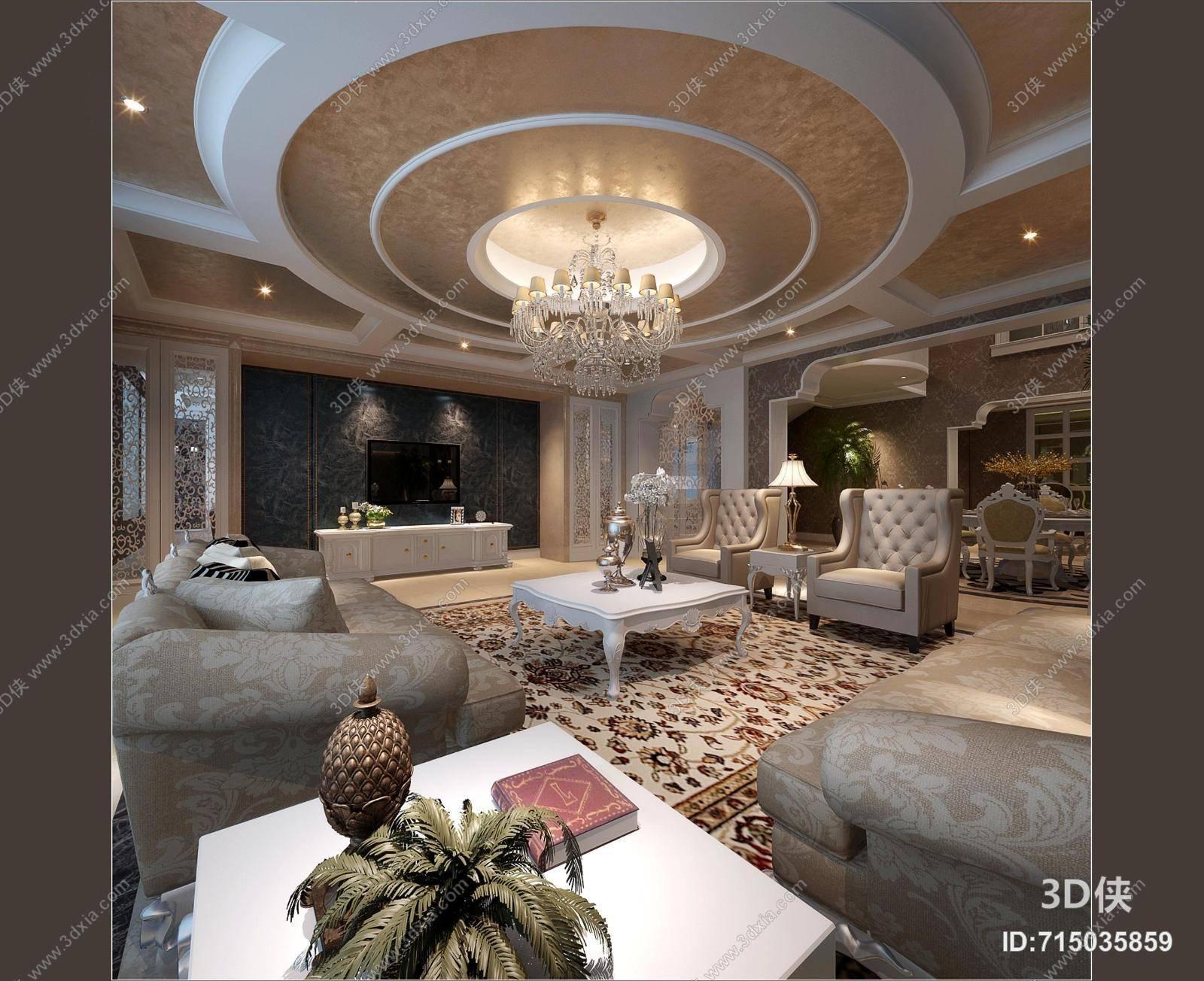 经典欧式别墅客厅3d模型【id:715035859】