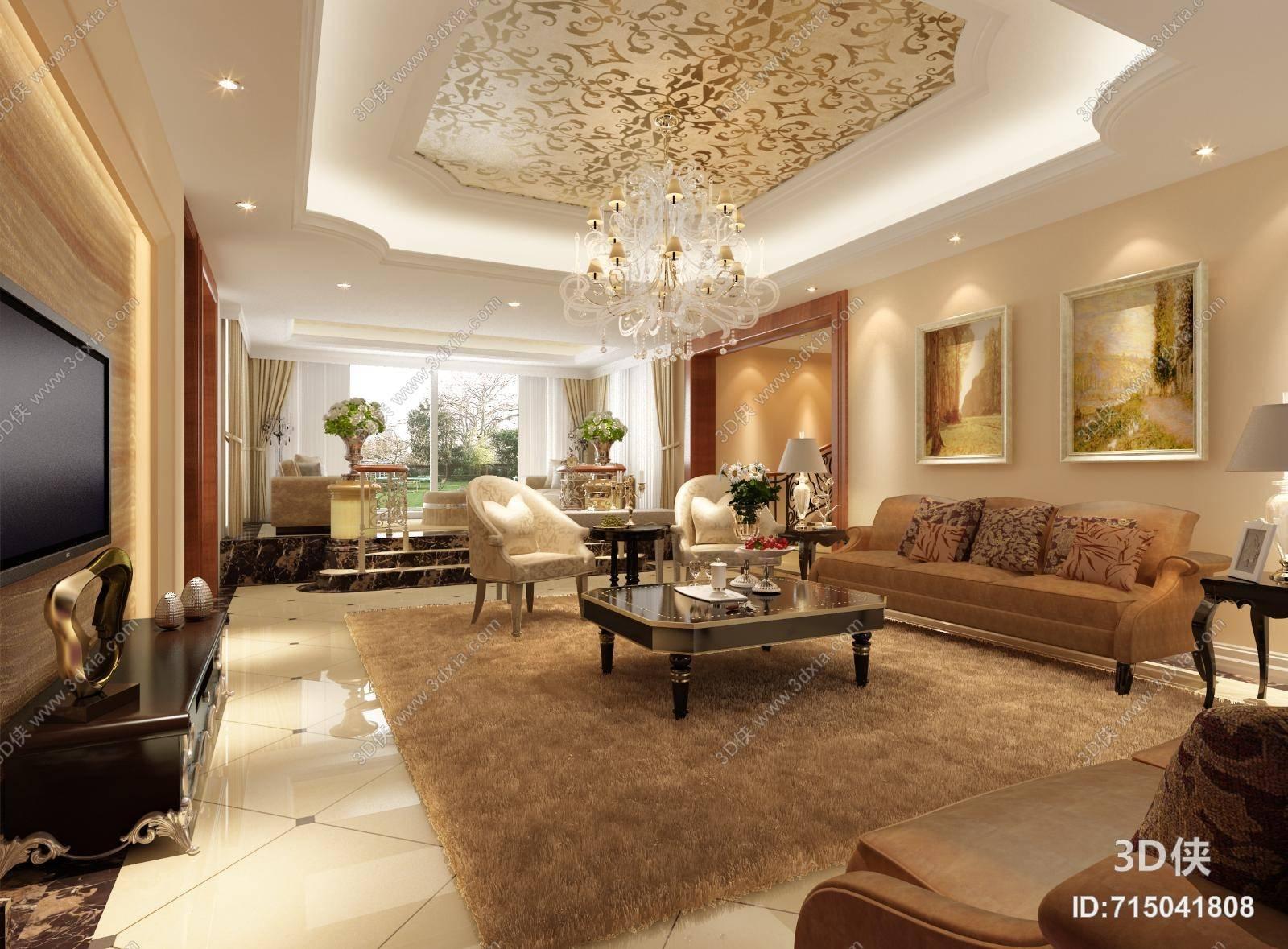 欧式简约别墅客厅 欧式简约白色吊灯 欧式简约家居茶几 欧式简约布艺