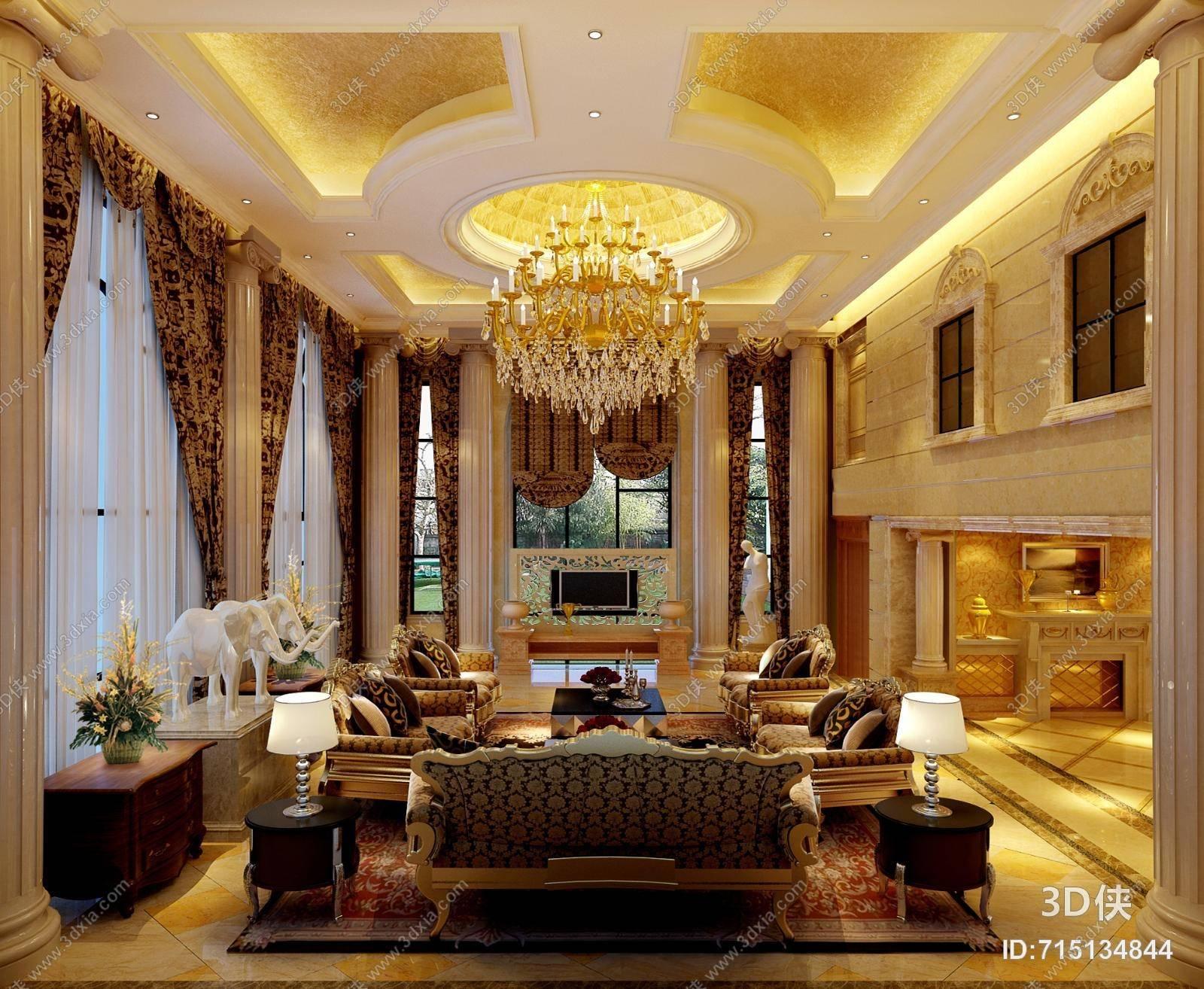 欧式古典金色别墅客厅 欧式古典棕色布艺沙发茶几组合 欧式古典金色