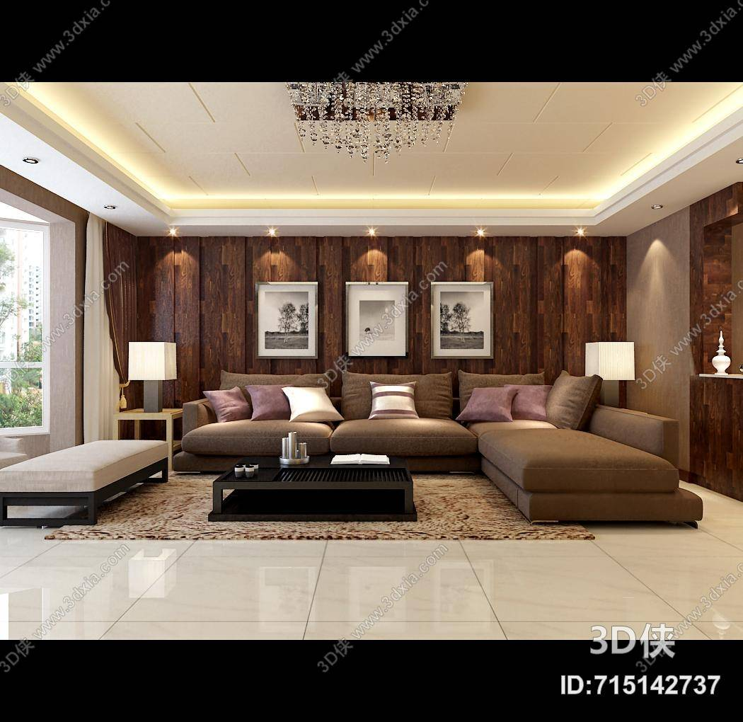 现代家居客厅 长方形木艺风景装饰画组合 现代黑色木艺沙发茶几组合