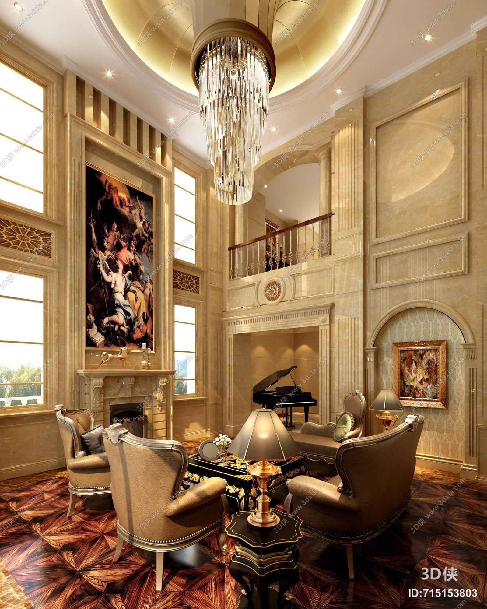 欧式古典别墅客厅 欧式古典水晶吊灯 欧式古典金属台灯 米色大理石