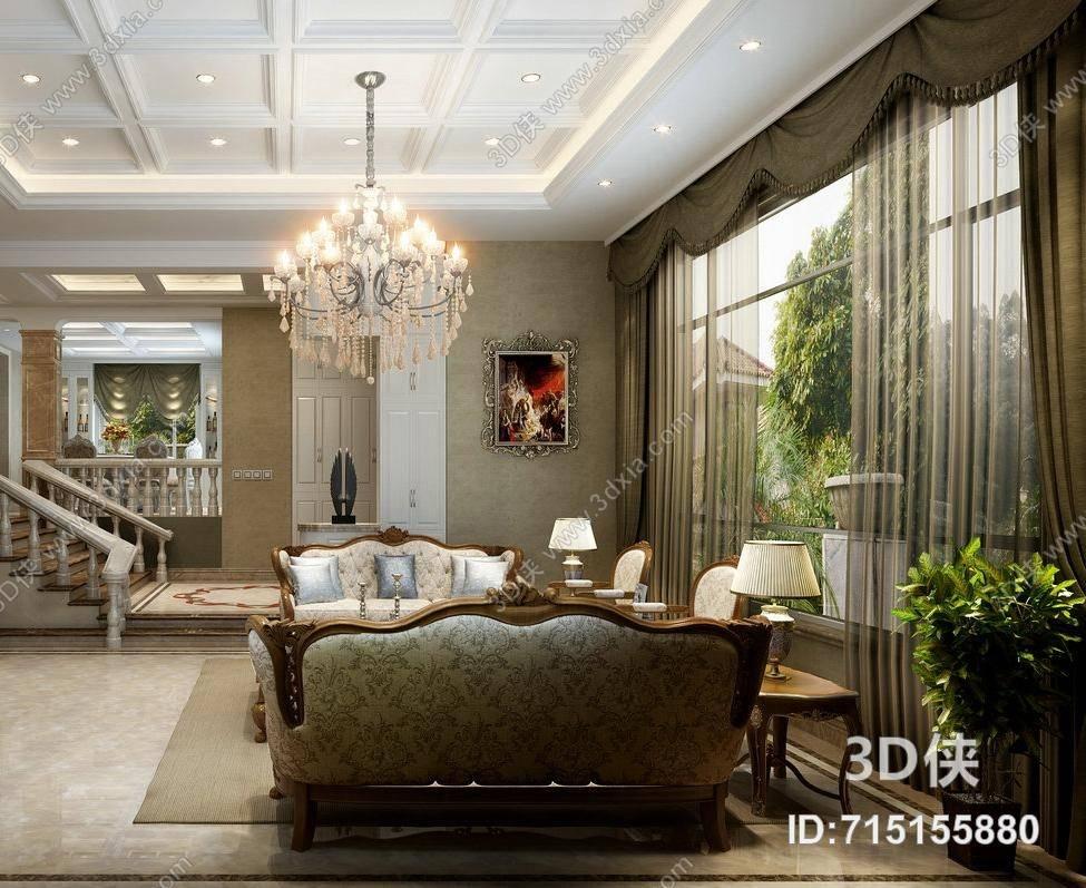 欧式简约别墅客厅 经典欧式透明水晶吊灯 欧式简约米色布艺沙发茶几