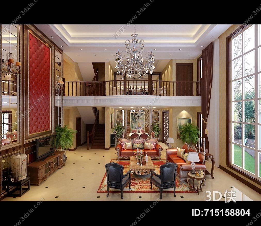 经典欧式别墅客厅 经典欧式水晶吊灯 经典欧式棕色长方形木艺电视柜