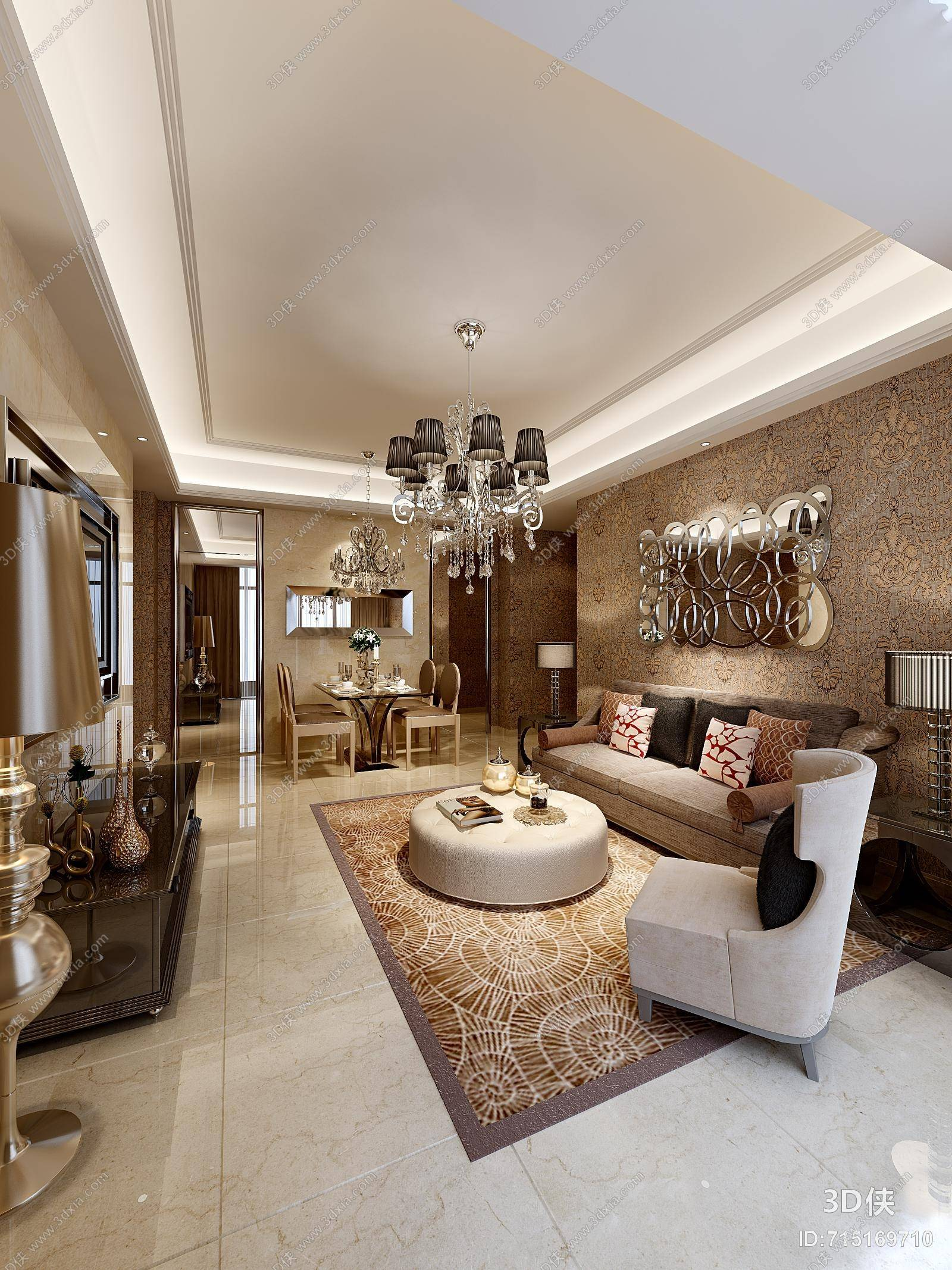 欧式简约金色家居客厅 欧式简约棕色布艺沙发茶几组合 经典欧式黑色金