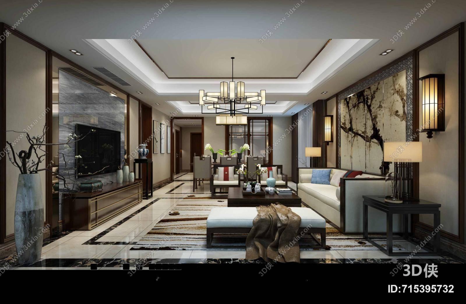 新中式家居客厅 新中式羊皮吊灯 新中式白色布艺脚凳