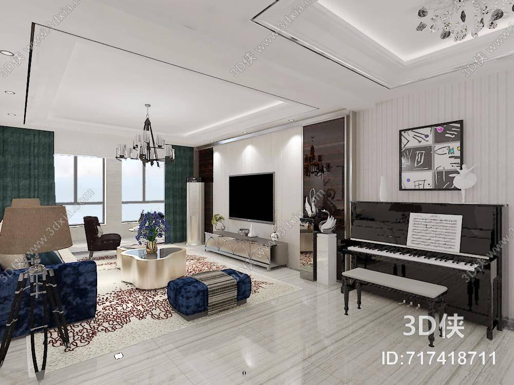 现代家居客厅 黑色木艺钢琴 现代黑色铁艺吊灯 现代蓝色布艺沙发茶几
