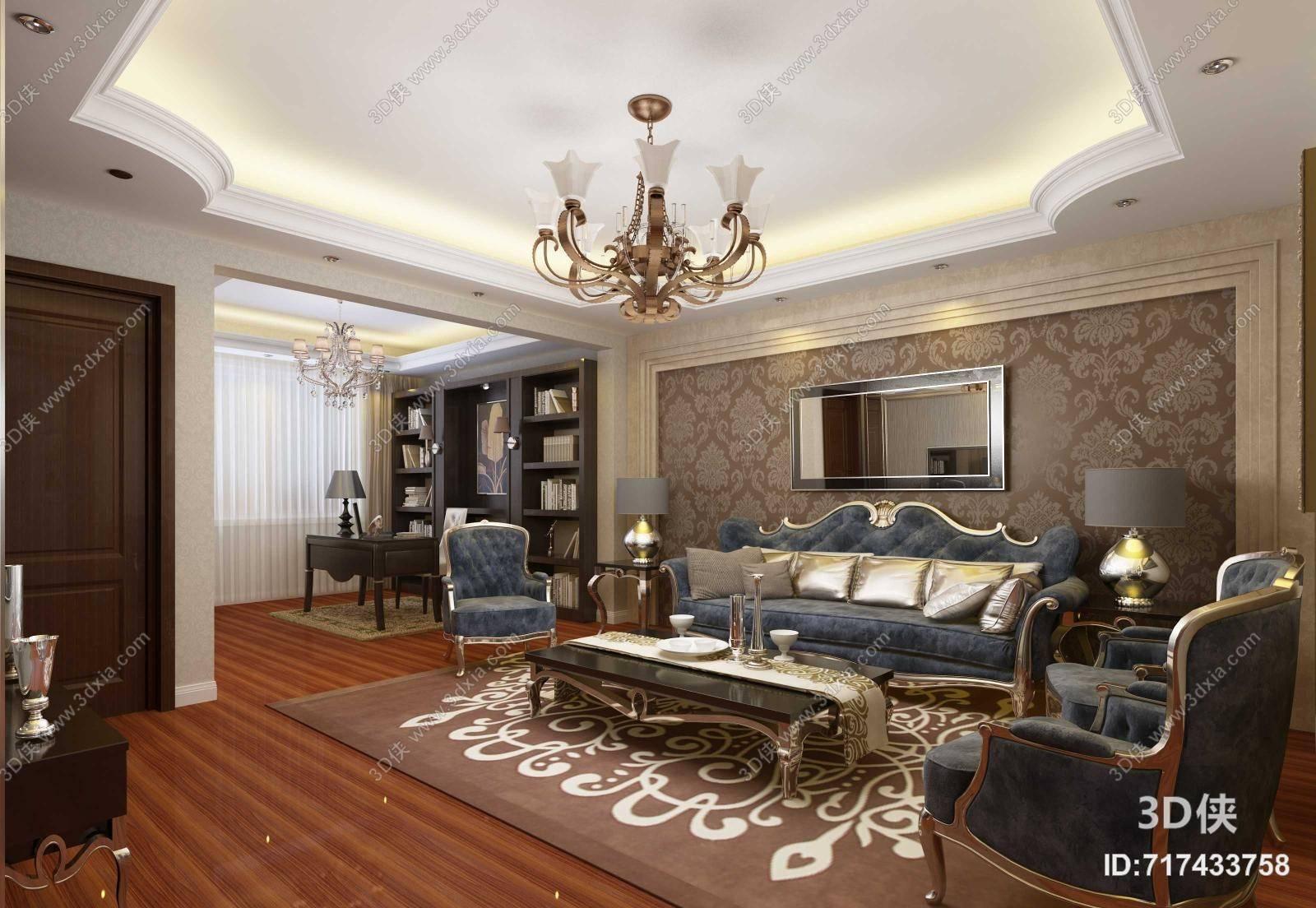 经典欧式铁艺吊灯 经典欧式蓝色布艺沙发茶几组合 玻璃镜子墙饰