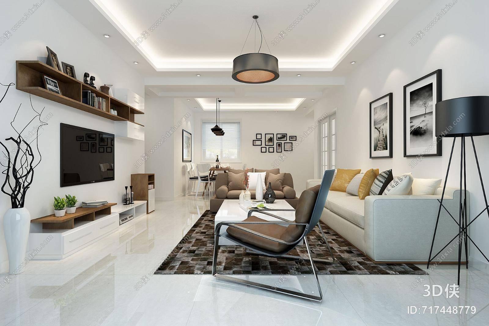现代家居客厅 现代布艺沙发茶几组合 现代白色木艺电视柜 现代黑色铁艺吊灯