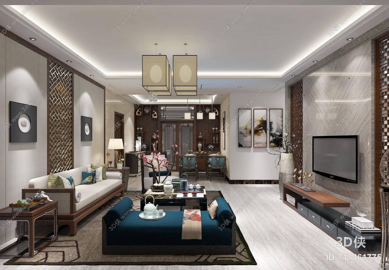 9及以下,建议使用3dmax 2012 软件打开,该新中式家居客厅图片素材大小