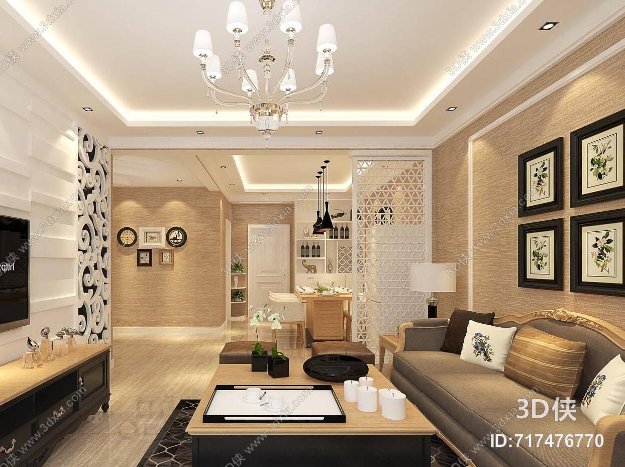 欧式简约棕色皮质沙发茶几组合 欧式简约暖色家居玄关
