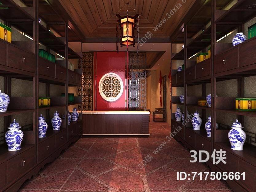 新中式收银台3d模型【id:717505661】图片