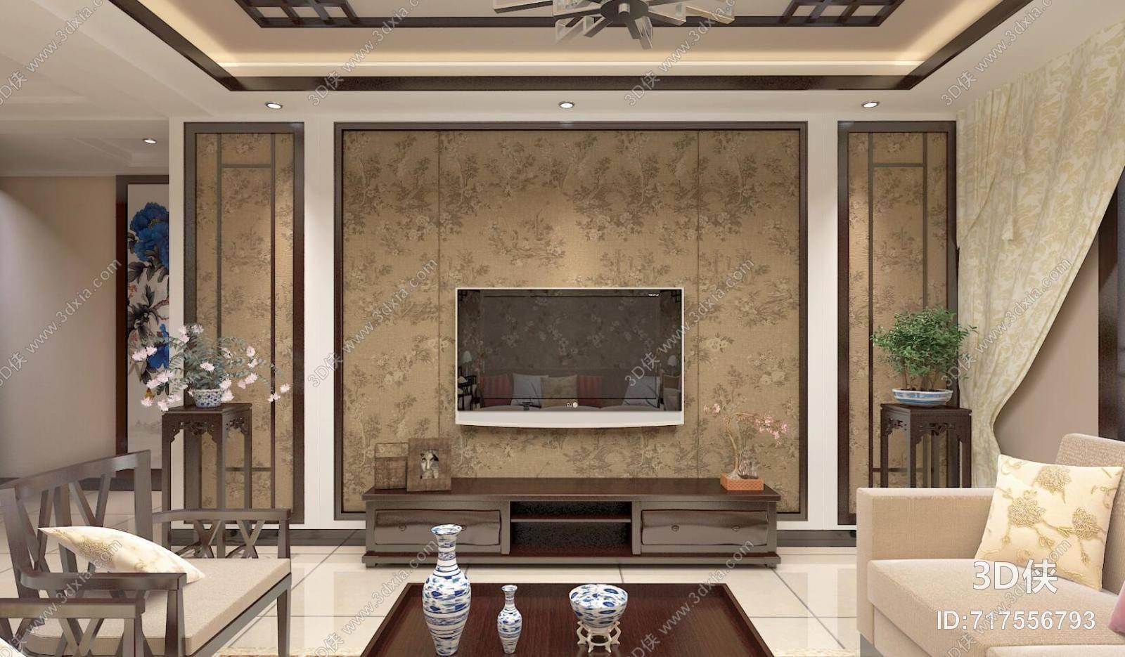 新中式家居客厅 新中式棕色木艺电视柜 棕色木艺花几 新中式家居玄关图片