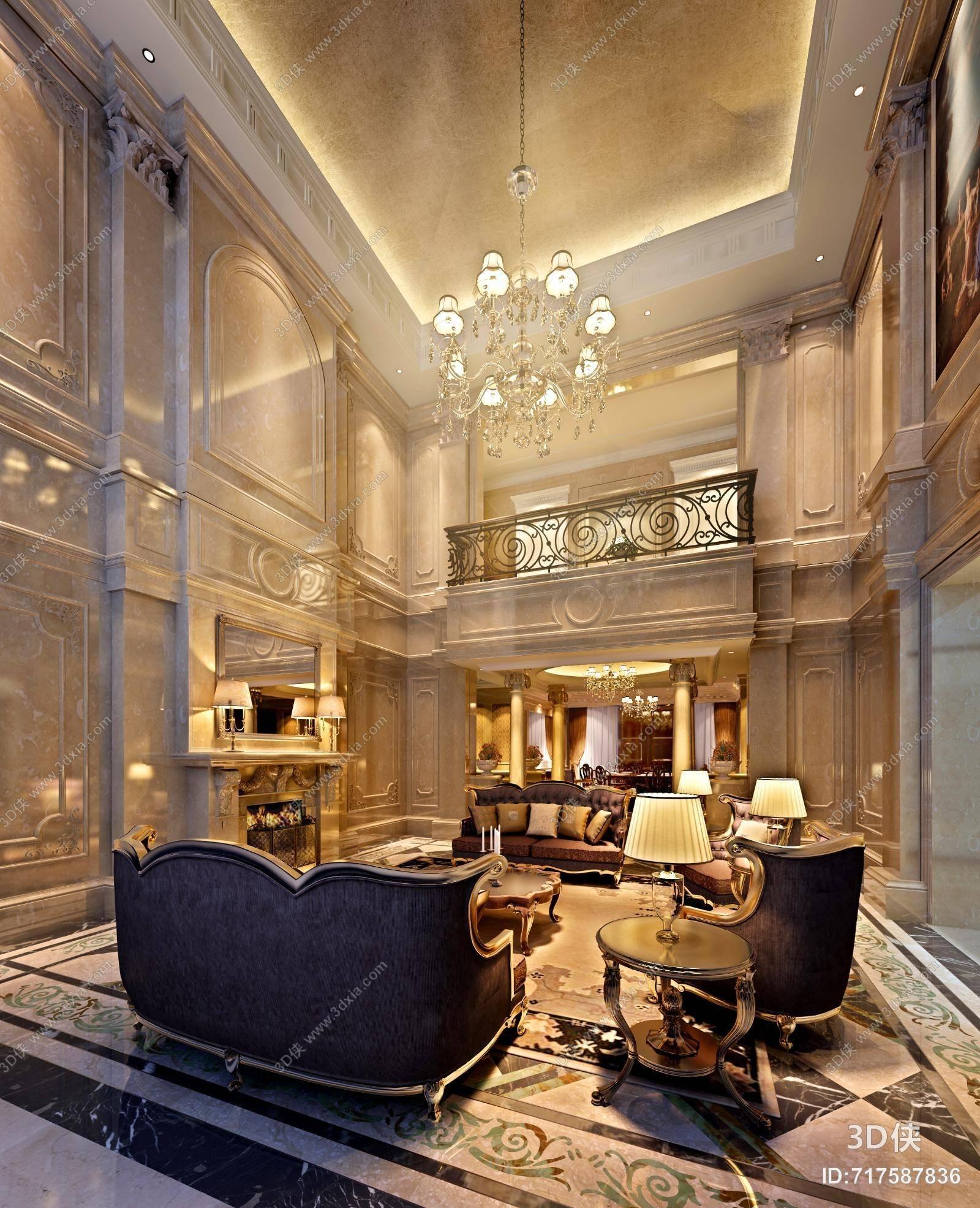 欧式新古典别墅客厅3d模型 _3d侠模型网