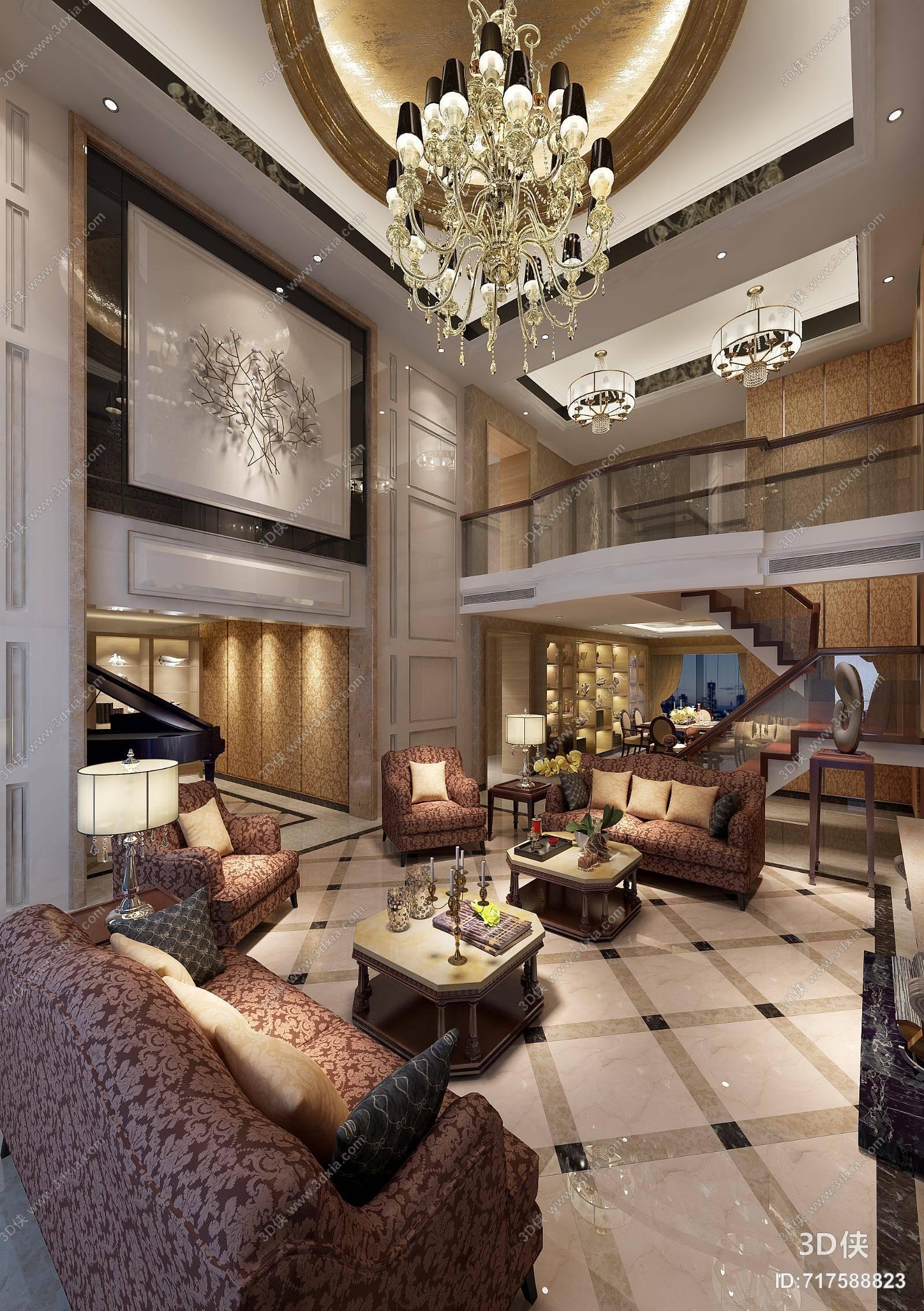 经典欧式别墅客厅 经典欧式棕色木艺沙发茶几组合