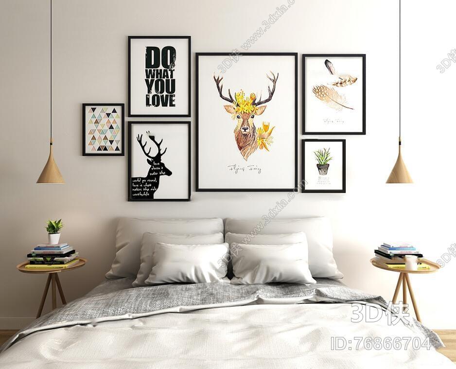 现代北欧卧室双人床挂画组合3D模型