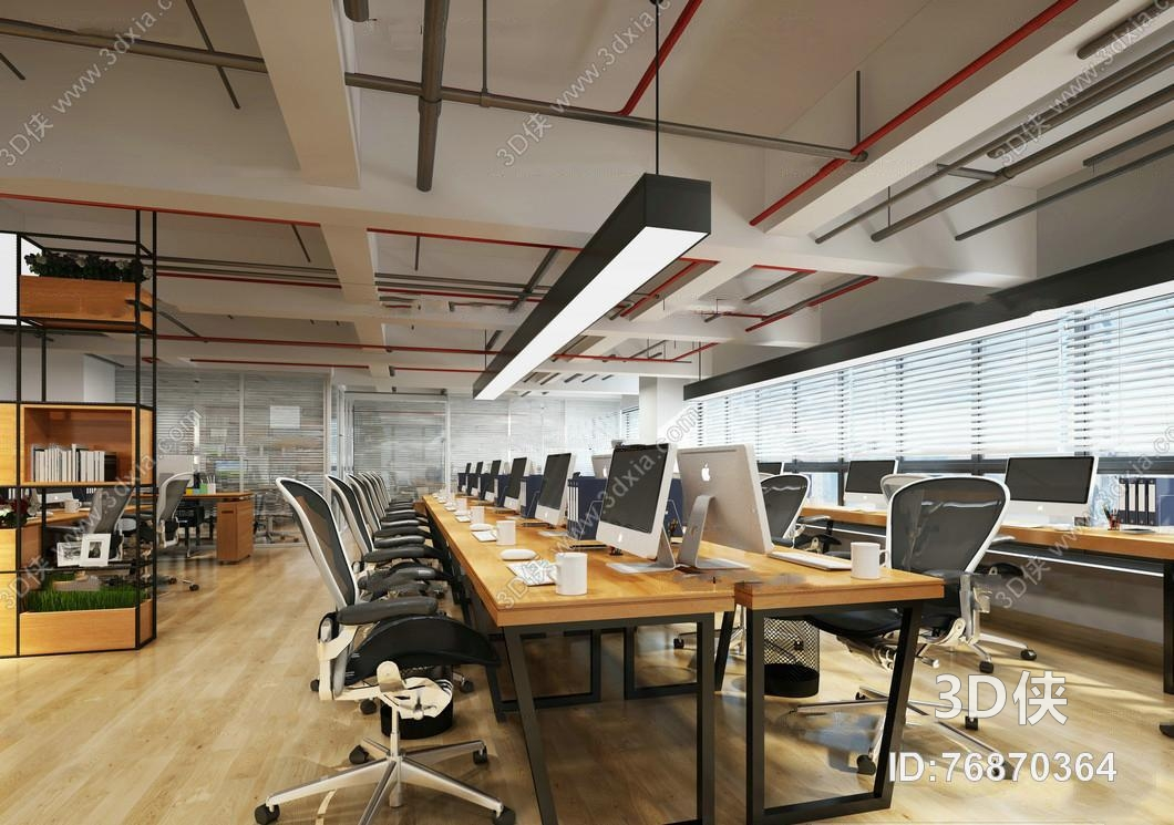 现代敞开式办公区3D模型