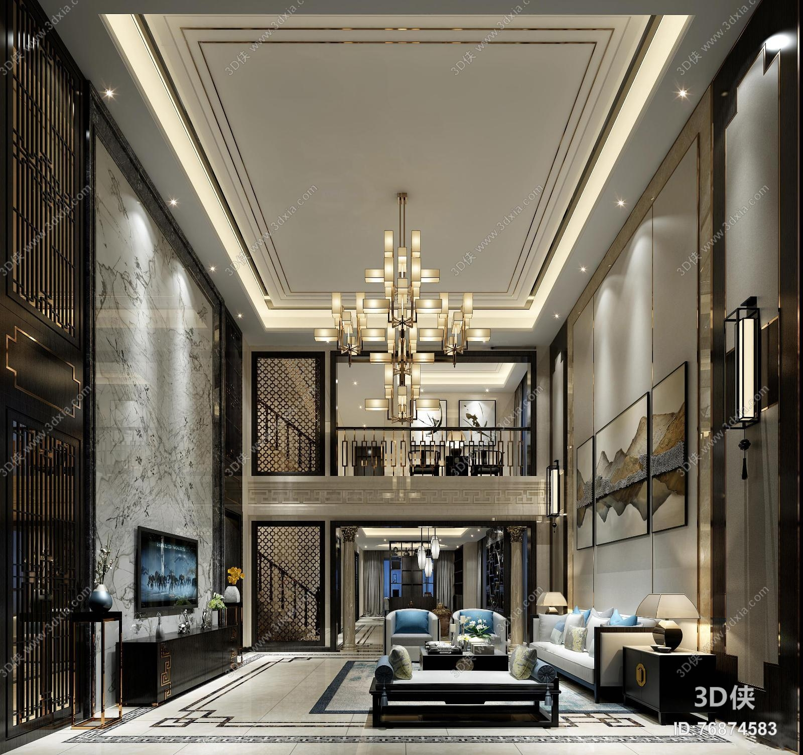 别墅新中式客厅装仹�b9��9f_新中式别墅客厅3d模型【id:76874583】
