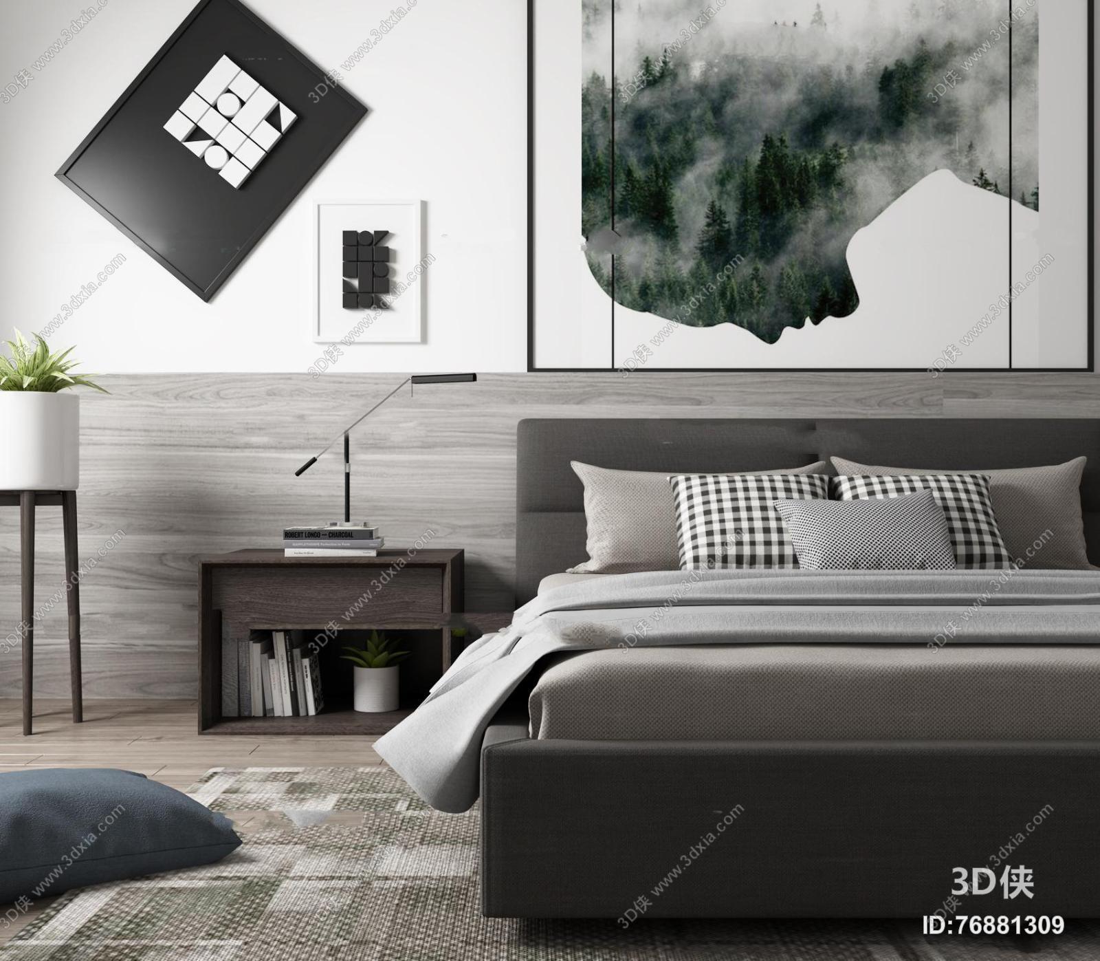 北欧双人床床头柜组合3D模型
