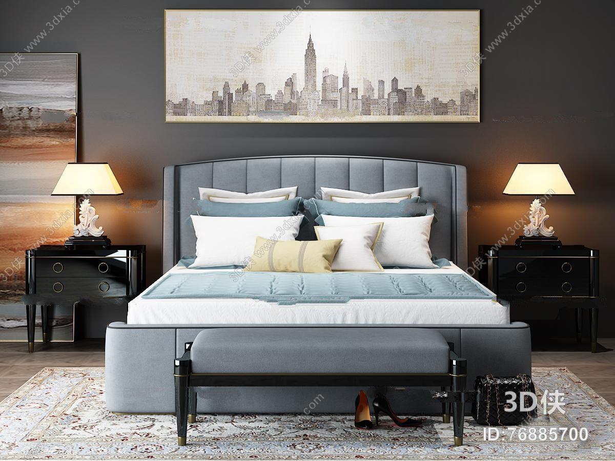 美式布艺双人床床头柜台灯脚踏装饰画组合3D模型