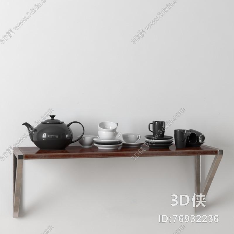 白色灰黑色纯色茶具模型 茶杯 餐具 器皿 茶壶 茶具