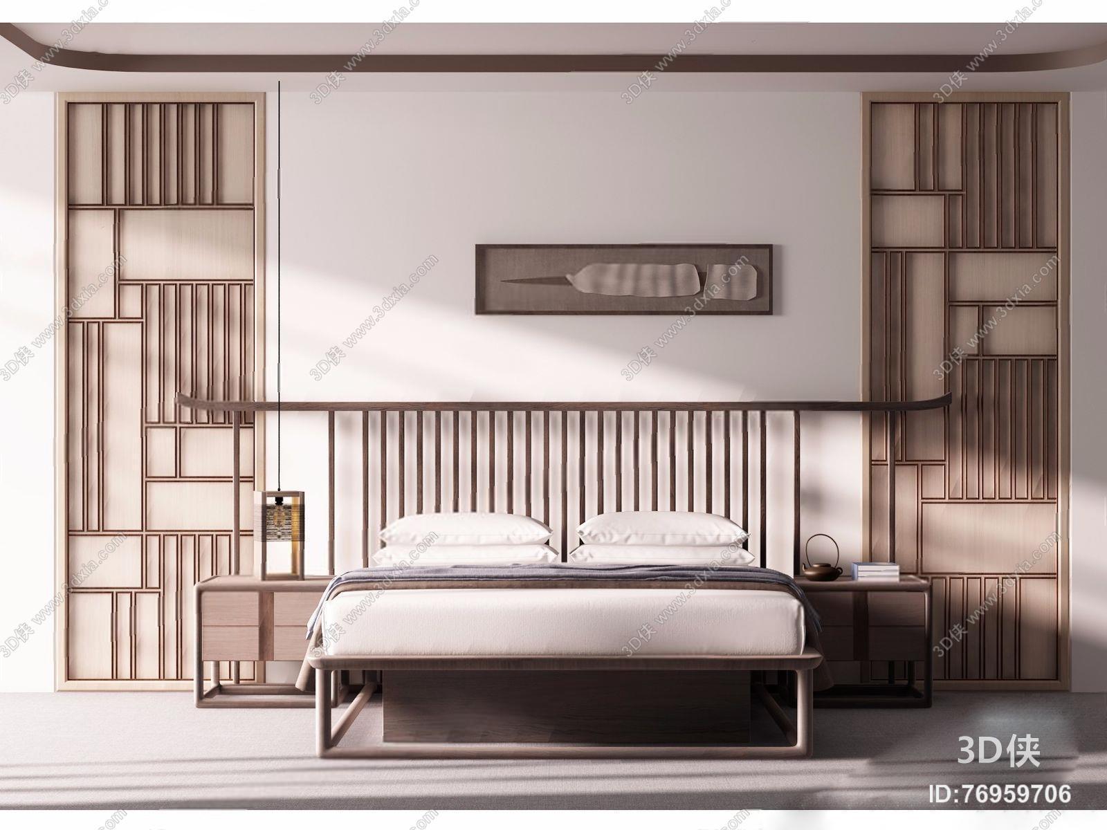 新中式禅意床具 新中式床具 双人实木床 床头柜 挂画 屏风隔断 台灯