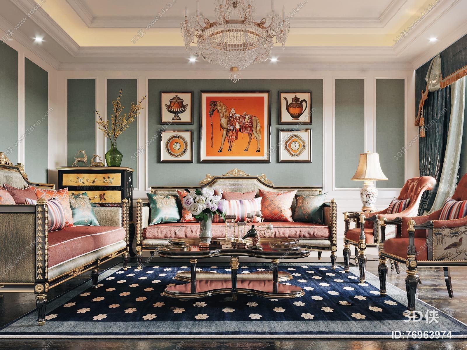 欧式客厅沙发茶几组合3D模型