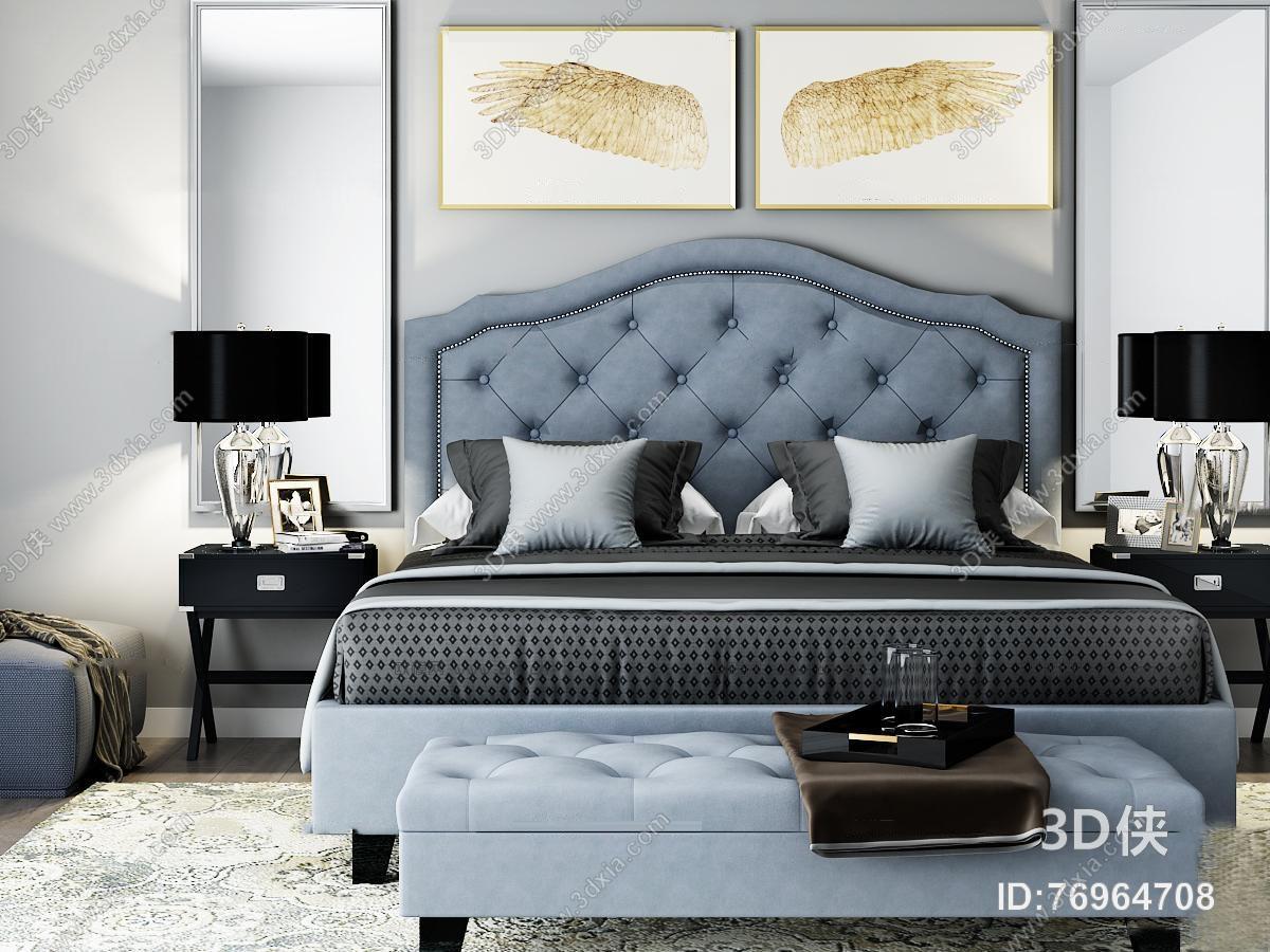 欧式双人床床头柜台灯组合3d模型【id:76964708】