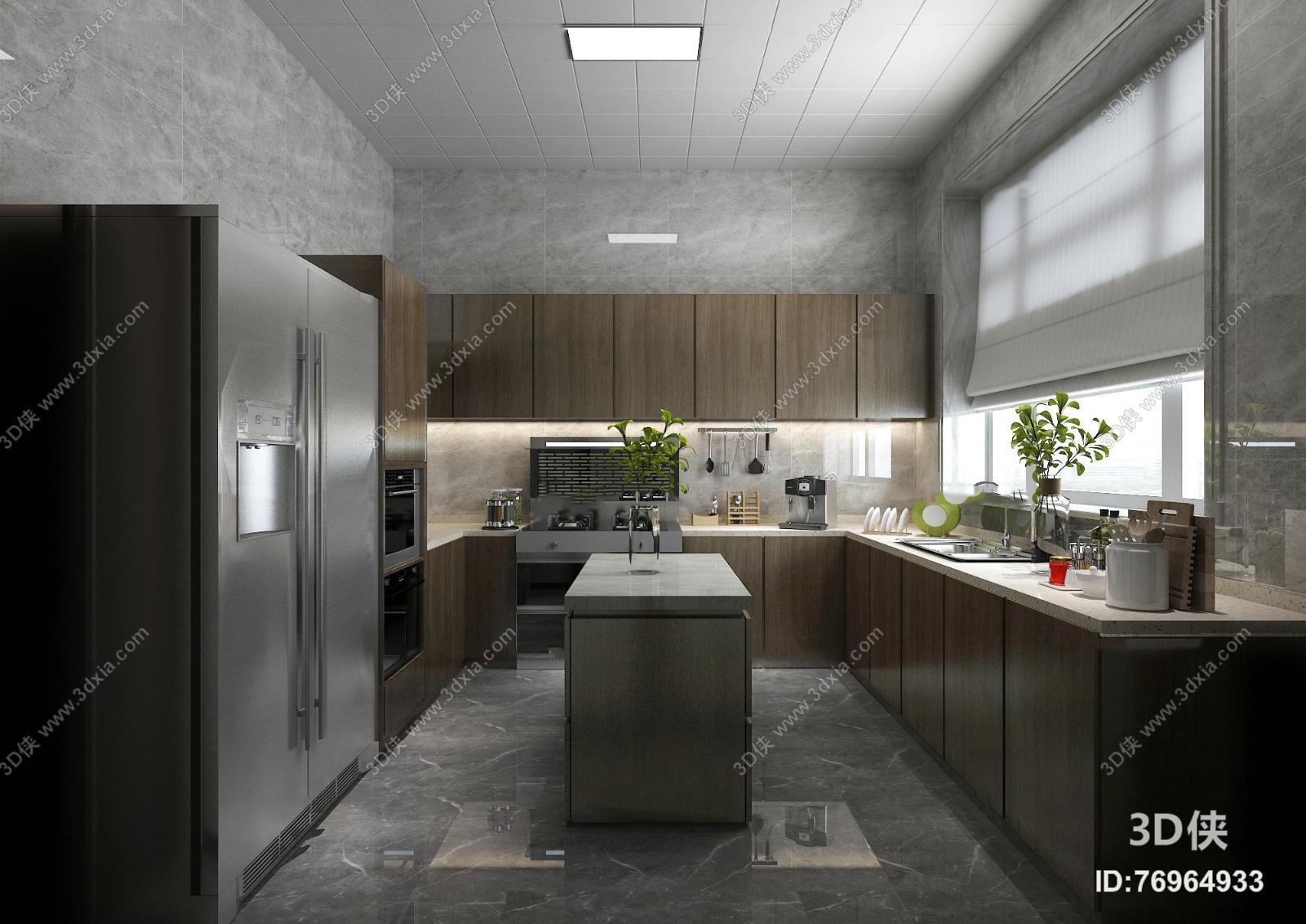港式厨房橱柜餐具3D模型