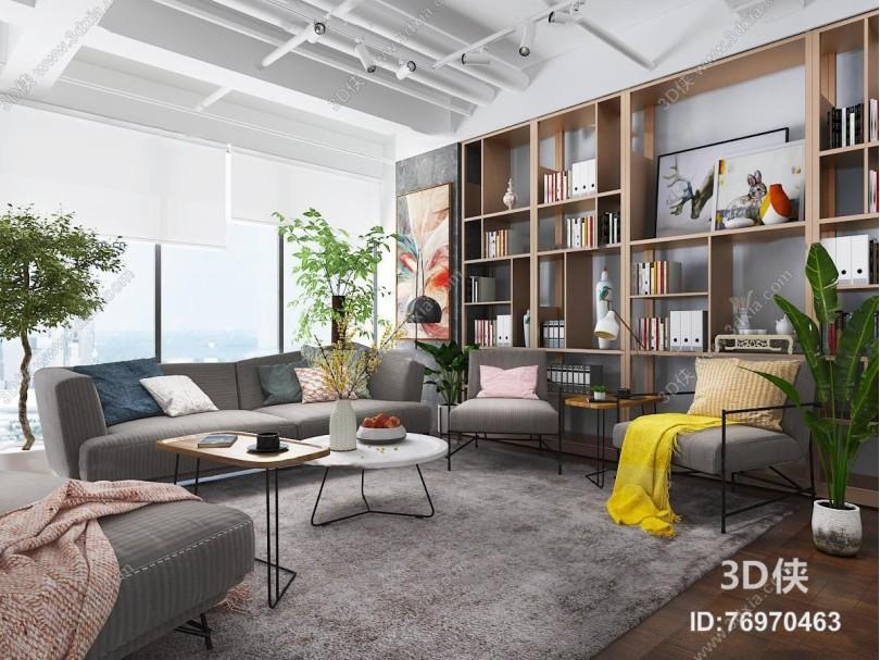 现代化妆品办公室休息区3D模型