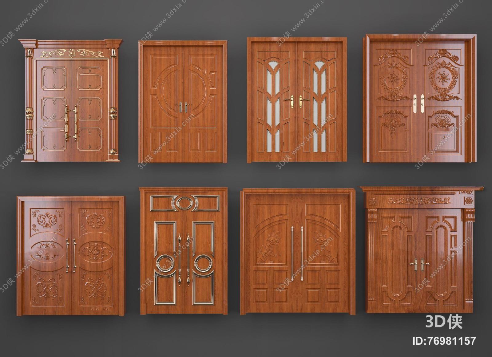 欧式实木雕花双开门组合3d模型【id:76981157】