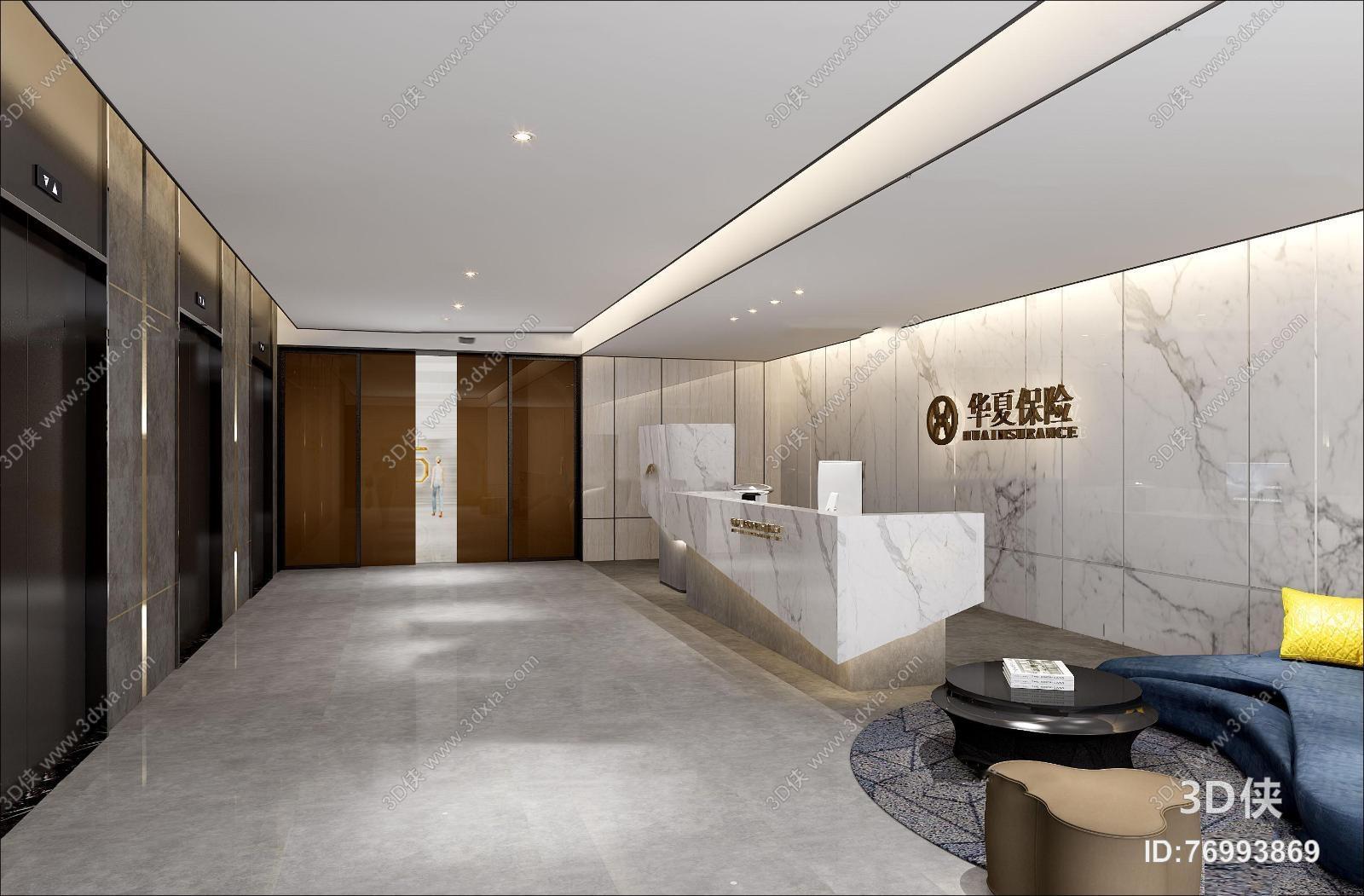 图素材免费下载,本作品主题是现代保险公司办公楼前台接待大堂3d模型