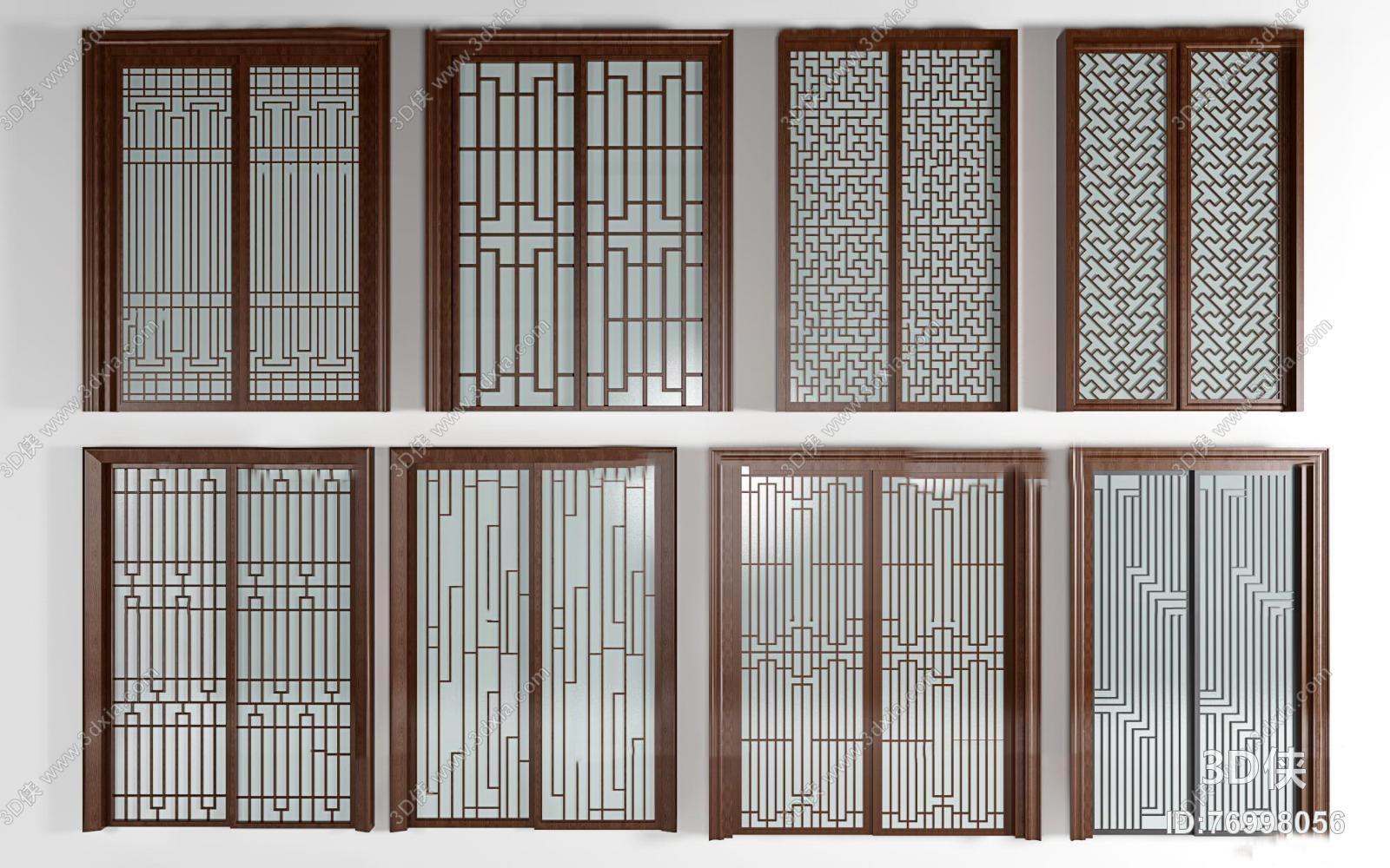 门效果图素材免费下载,本作品主题是中式实木窗花推拉门组合3d模型