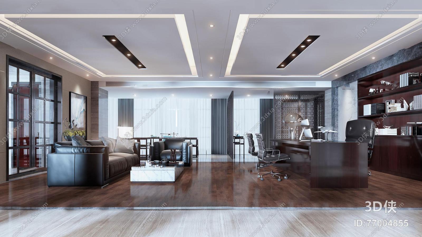 办公空间效果图素材免费下载,本作品主题是新中式简约总经理办公室3d