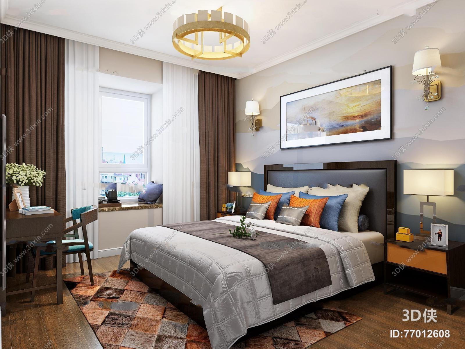 现代卧室双人床3D模型