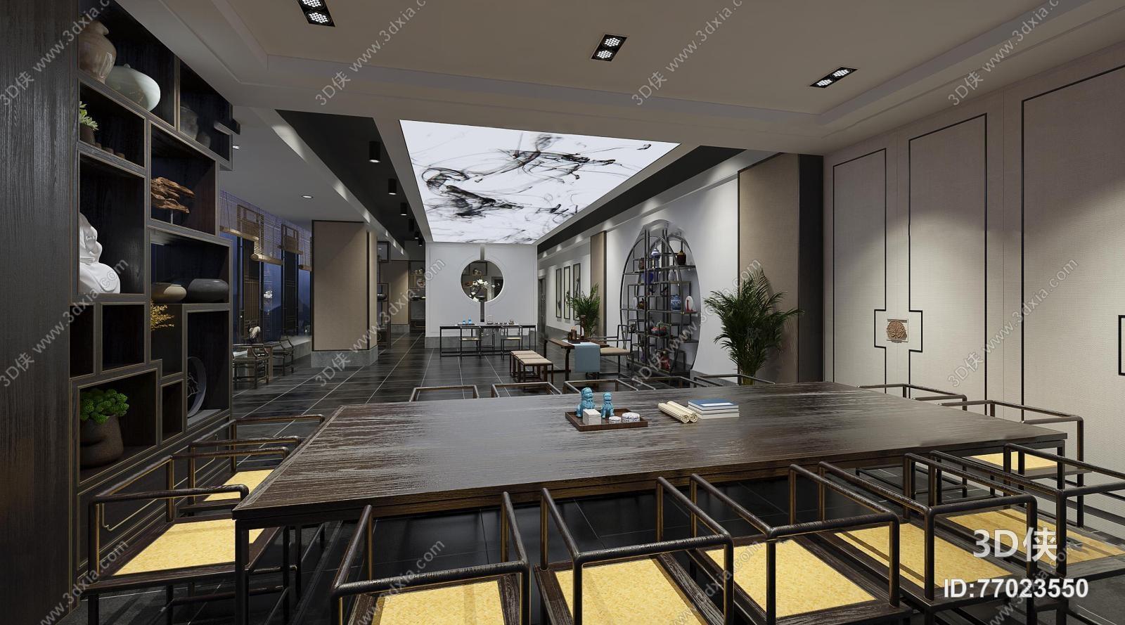办公空间效果图素材免费下载,本作品主题是新中式总经理办公室茶室