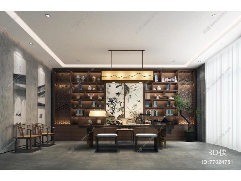 新中式总经理办公室书房3D模型