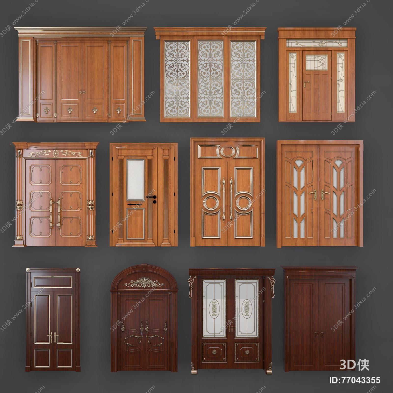 欧式实木雕花双开门组合3d模型【id:77043355】