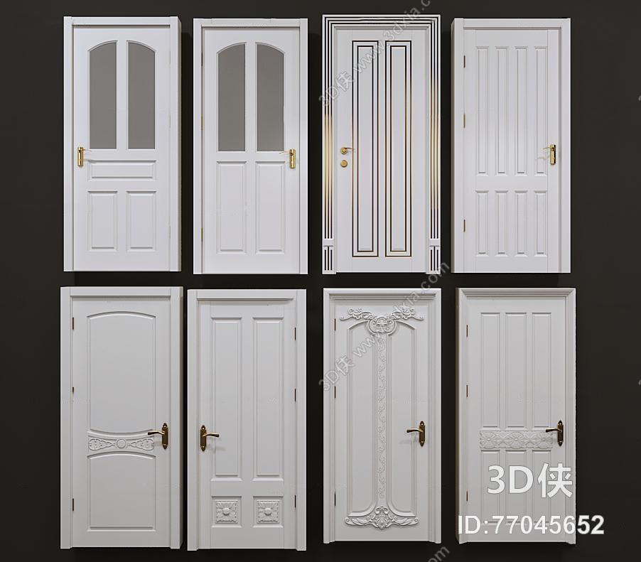欧式实木雕花单开门组合3d模型【id:77045652】
