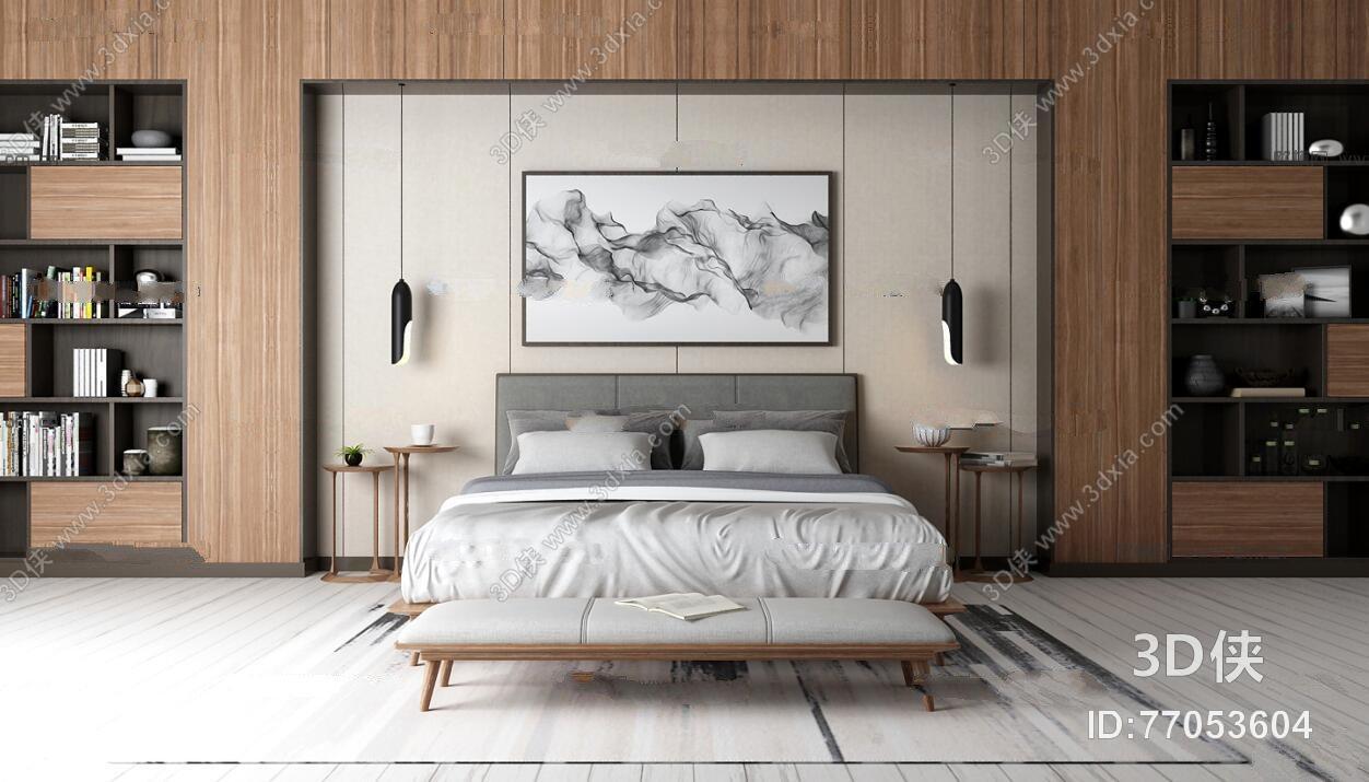 北欧双人床书架装饰画组合3D模型