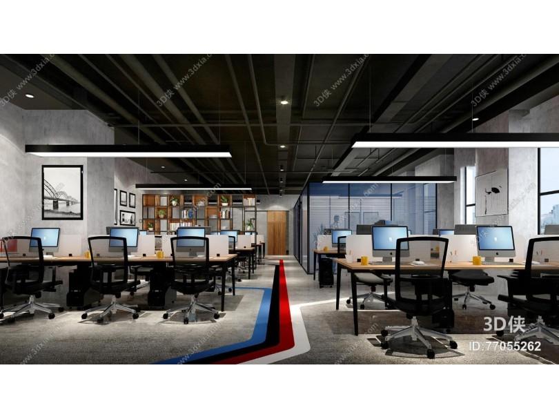 工业风敞开式办公室3D模型