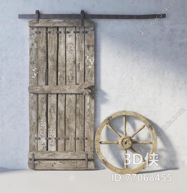门窗户效果图素材免费下载,本作品主题是工业风复古滑门船舵3d模型