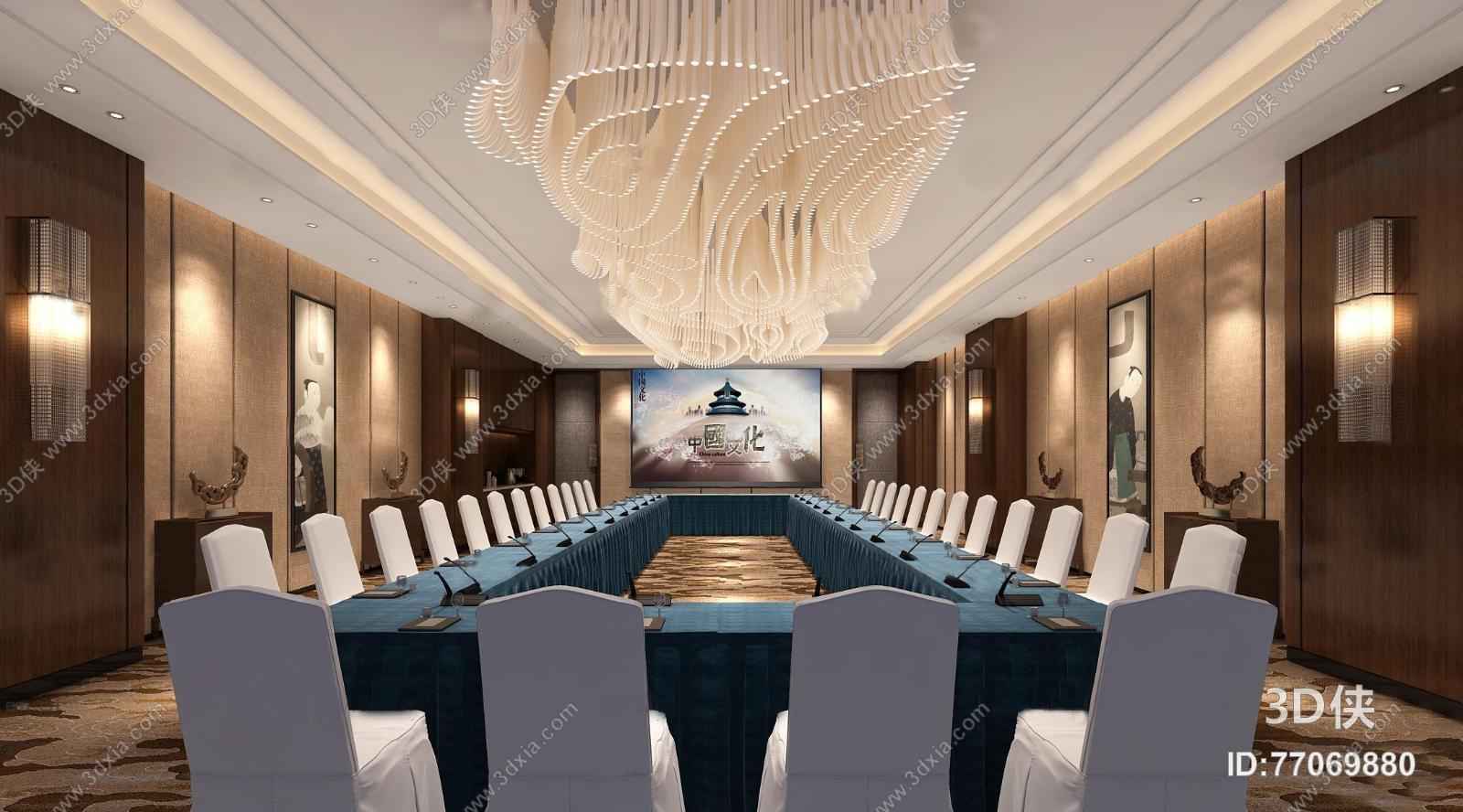 会议室效果图素材免费下载,本作品主题是中式酒店会议室3d模型,编号是