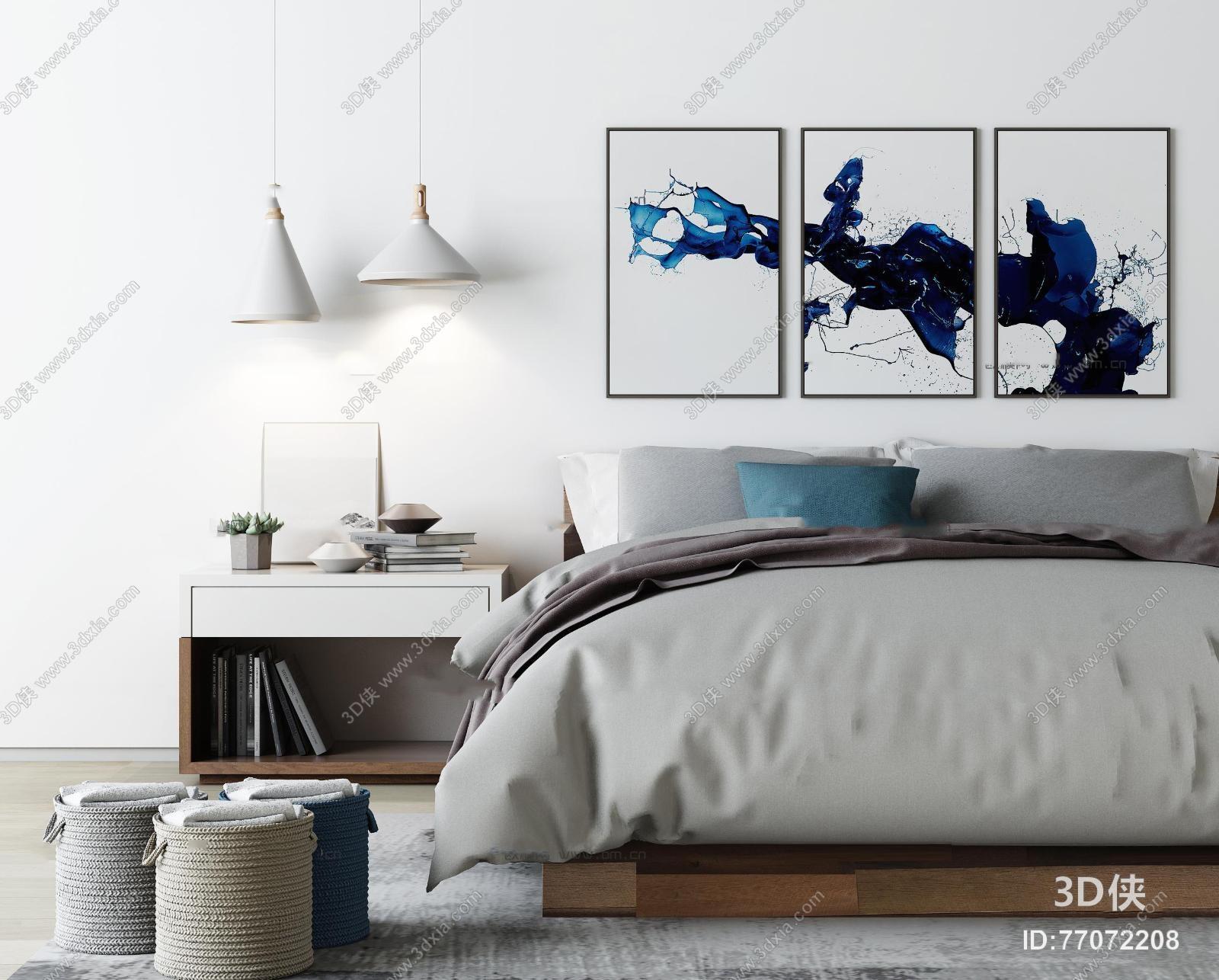 现代布艺双人床床头柜吊灯装饰画组合3D模型