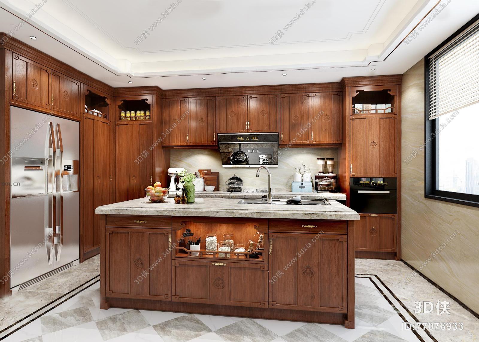 新中式厨房厨柜中岛柜3d模型