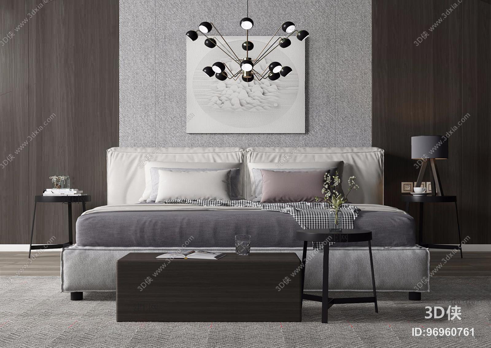 北欧床具 北欧床具 凳子 角几 吊灯 挂画 床品
