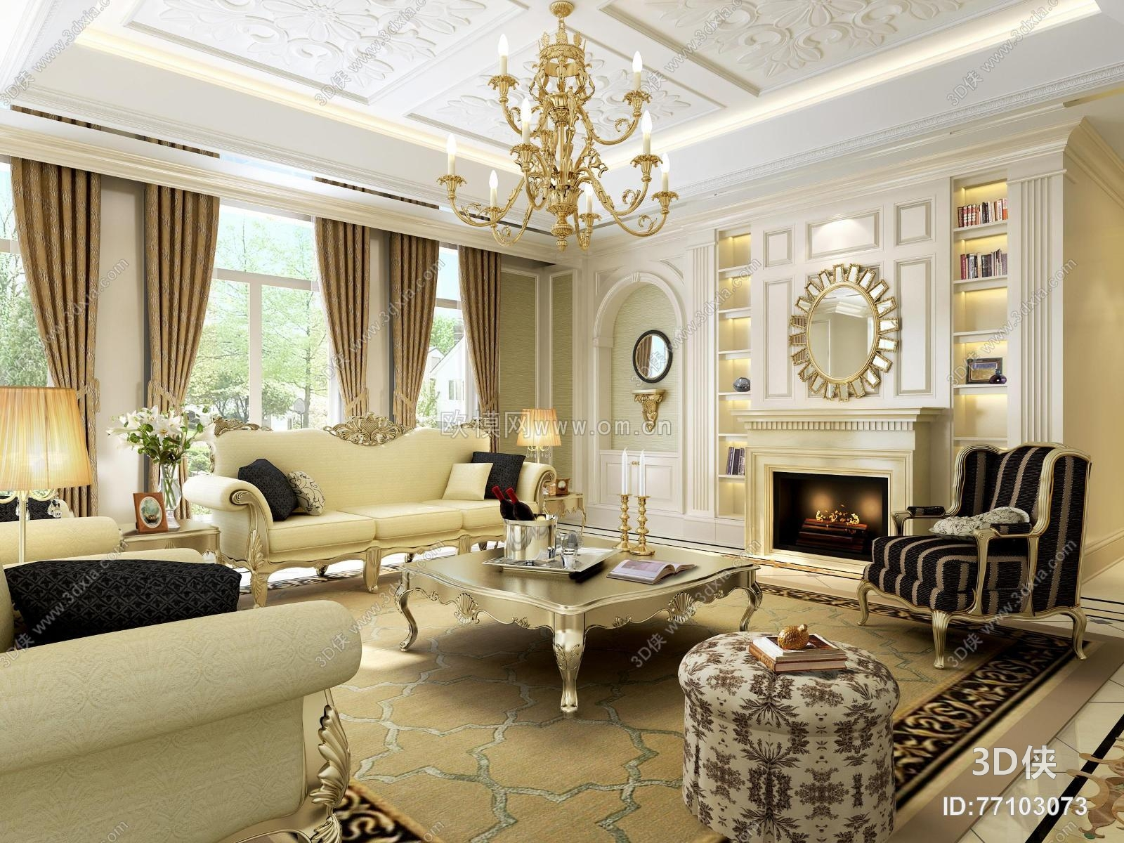欧式客厅沙发茶几吊灯壁炉组合3d模型【id:77103073】