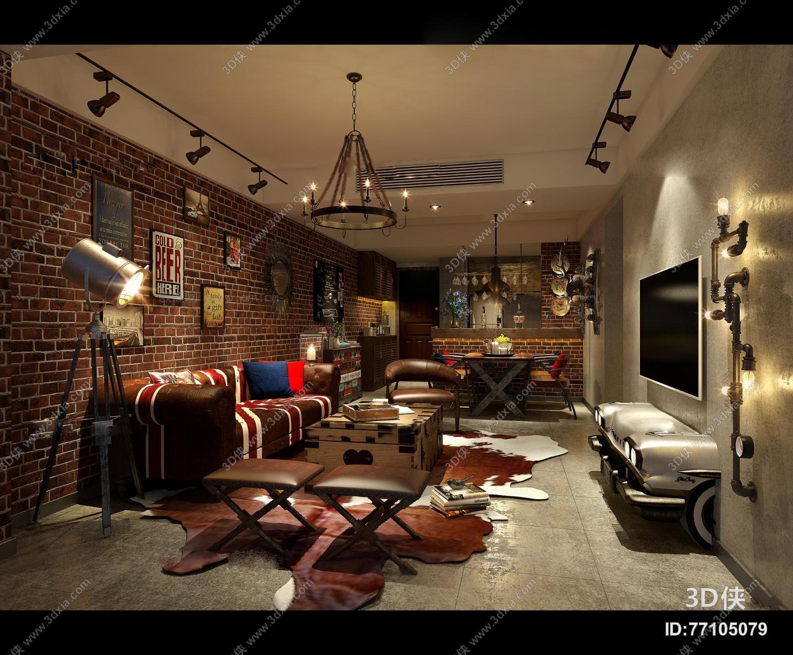 欧式复古工业风客厅餐厅空间3d模型【id:77105079】