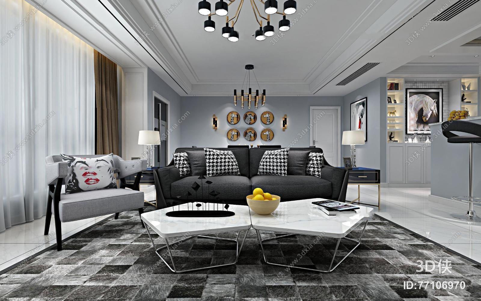 后现代风格客厅空间3D模型